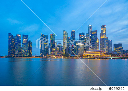 Panorama view of Singapore city skyline 46969242