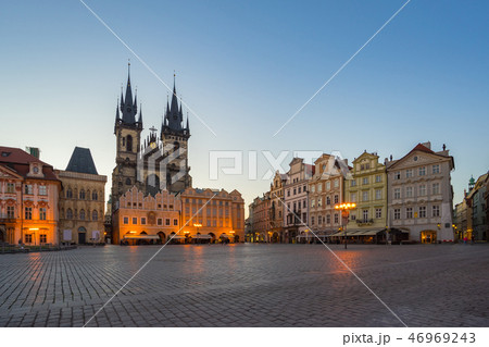 Prague old town square with view of Tyn Church 46969243
