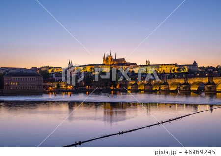 Night view of Prague skyline in Czech Republic 46969245