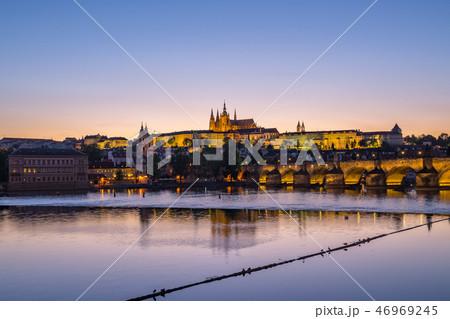 Night view of Prague skyline in Czech Republic 46969245