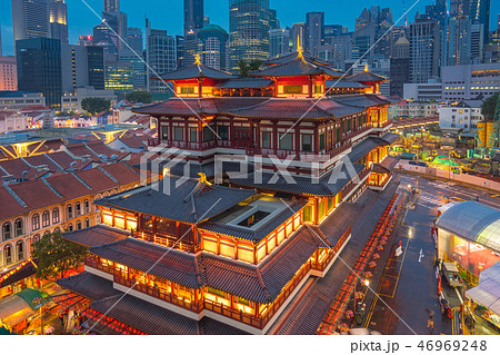 Singapore city skyline with view Chinese Temple 46969248