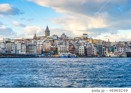 Galata Tower with Istanbul city skyline in Turkey 46969249
