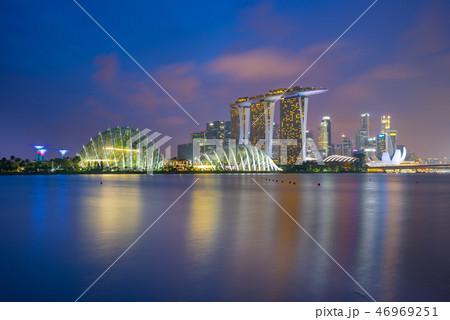 Panorama view of Singapore city skyline 46969251