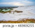 Panoramic view of travertine terraces at Pamukkale 46969255