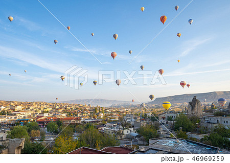 Hot air balloon are riding in Cappadocia, Turkey 46969259