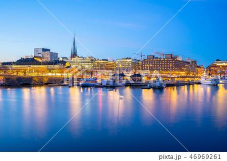 Stockholm port city skyline at night in Sweden 46969261