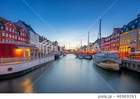 Panorama view of Nyhavn landmark in Copenhagen 46969263