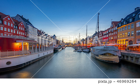 Copenhagen city at night with view of Nyhavn 46969264