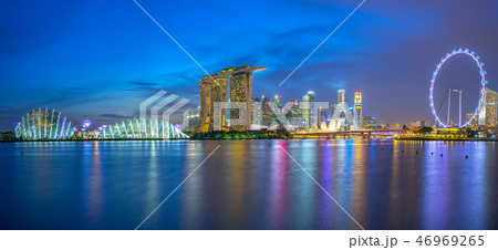 Singapore skyline with landmark buildings at night 46969265
