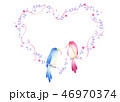 ハート 小鳥 リボンのイラスト 46970374