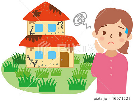 老朽化した家と困る女性 46971222
