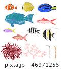 水彩 魚 サンゴのイラスト 46971255