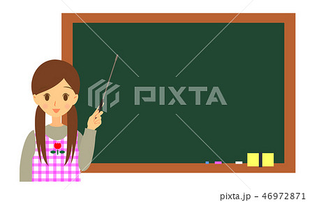 支持棒を持つ女性保育士 黒板背景 上半身 46972871