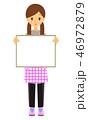 ホワイトボードを持つ 女性保育士  46972879