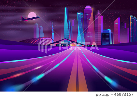 Vector empty road in megapolis at night 46973157