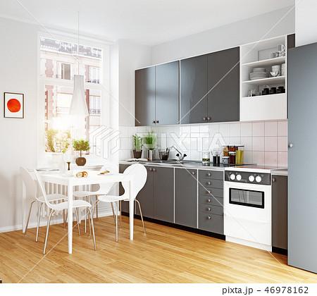modern cozy kitchen interior 46978162