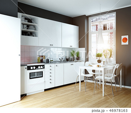 modern cozy kitchen interior 46978163