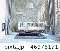 modern attic interior design. 3d rendering concept 46978171