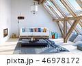 modern attic interior design. 3d rendering concept 46978172