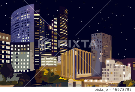 Business center at night Vector. La Defense 46978795