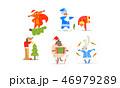 サンタ サンタクロース クリスマスのイラスト 46979289