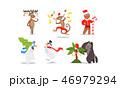 ジンジャーブレッド クリスマス キャラクターのイラスト 46979294