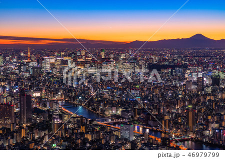 《日本の絶景》東京の夜景・富士山を望む《スカイツリー展望台より》 46979799