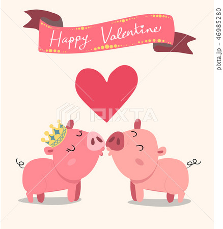 cute couple pink pigs kissing, valentine card 46985280