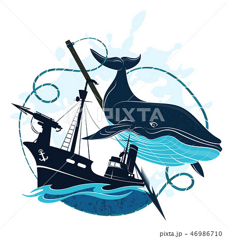 Whaler at sea and whale 46986710