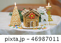 Family traditions. Decoration gingerbread house. Preparing for the holiday of Christmas 46987011