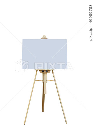 Wooden easel with blank plastic board 46989788