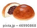 パン あんパン 水彩のイラスト 46990868
