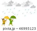 レインコート 子供 傘のイラスト 46993123