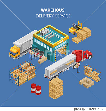 Workers loading trucks with packages from warehouse 46993437