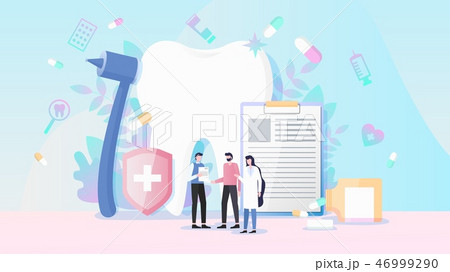 Heath and Dental Insurance Flat Vector Concept 46999290