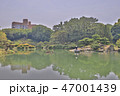Japanese garden with pond and river,  47001439