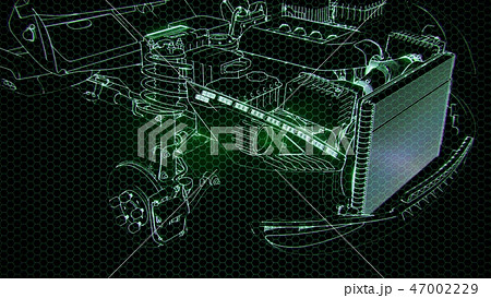 Holographic animation of 3D wireframe car  47002229