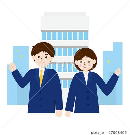 ビジネス素材-会社と新入社員4 47008406