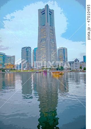 横浜ランドマークタワーのイラスト素材 47010495 Pixta