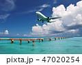 着陸する飛行機と青い海-下地島空港RW17エンド 47020254