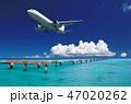 着陸する飛行機と青い海-下地島空港RW17エンド 47020262