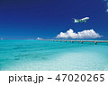 着陸する飛行機と青い海-下地島空港RW17エンド 47020265