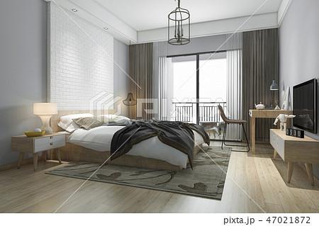 beautiful minimal bedroom suite in hotel with tv 47021872