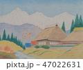白馬三山と山里(色鉛筆画) 47022631