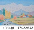 白馬三山と山里(色鉛筆画) 47022632
