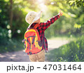 boy going camping with backpack in nature 47031464