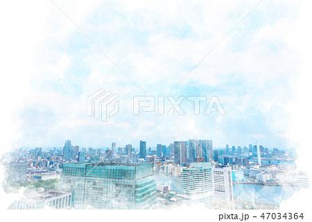 東京の都市風景 水彩画風 47034364