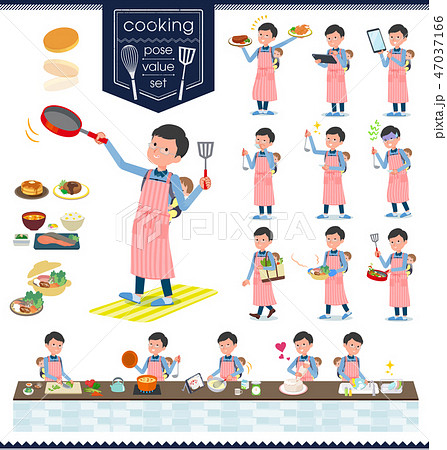 flat type Dad and baby_cooking 47037166