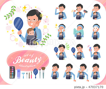 flat type Dad and baby_beauty 47037170