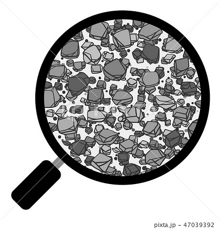 土 団粒構造 虫眼鏡 ベクター素材 白黒 モノクロ 47039392